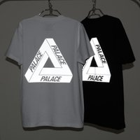 PALACE Reflective Tees Men's Boy Skate Camisetas Streetwear Branco Preto 3M Light-reflecting Short Sleeve T Tops camisa LLWF0514