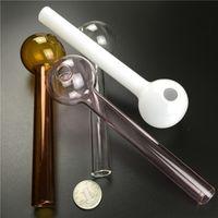 Tube de brûleur d'huile de verre pour fumer 7,3 pouces grandes tuyaux de verre brûleur à huile avec blanc brun rose clair pyrex brûleurs à huile épaisse