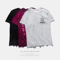 Camisa dos homens T ESTAÇÃO 3 eu sinto como o t-shirt curto do O-pescoço da luva do T do pablo Kanye West Letter Print Sportwear
