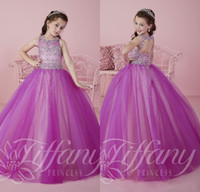 Sparkly Purple Pageant Dresses for Teens Tulle Ball Gown Flo...