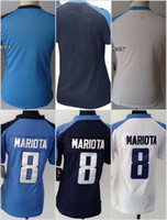 Women Ladies Football Stitched Titans Blank #8 Marcus Mariot...