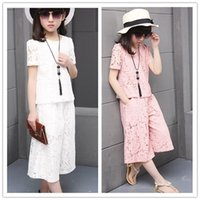 2016 Summer Fashion Big Girls Outfits 120- 160 Lace Hollowed ...