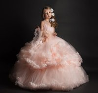 3D- Floral Flowers Girls' Dresses For Weddings Tiered Ha...