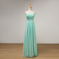 Mint Green Long A Line Bridesmaid Dress With Pleats 2016 Ele...