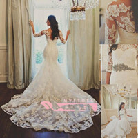 2016 Sheer Lace Mermaid Wedding Dresses With Jewel Neck 1 2 ...