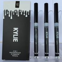 Date de maquillage NEW KYLIE 2 EN 1 Waterproof Crayon à sourcils Maquillage Skinny Brow Pencil g à deux extrémités avec brosse à sourcils 3 Couleur DHL MR020