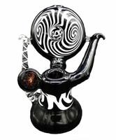Mini pipe en verre blanc et noir Pipe fumigène en verre pipe poignée eau Bong verre Livraison gratuite