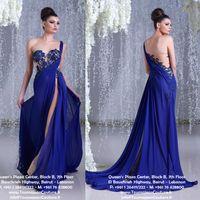 Hanna Toumajean Arabic Prom Dresses One Shoulder Illusion Si...