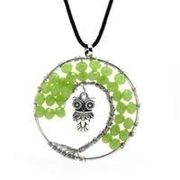 Creative life tree gravel green crystal Necklace Quartz Chip...