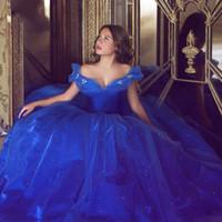 2016 Золушка Синий мантии шарика платья выпускного вечера плеча Тюль принцессы Формальное партии платья из бисера Элегантный выполненная на заказ Vestidos De Festa