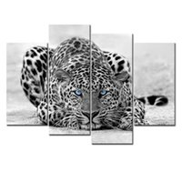 4 Pieces Черная белая стена искусства живописи Blue Eyed Leopard печатает на холсте Изображение с деревянным обрамлении для домашнего украшения
