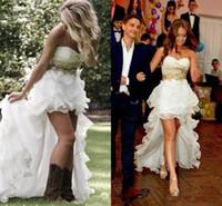 Скромная High Low Country Style Свадебные платья 2016 года Милая Ruffle органза Асимметричный Монтажн Привет Lo Свадебные платья Плюс Размер Свадебные платья