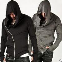 Novo elegante braço aquecedor Diagonal ZIP-UP Mens Assassino Creed Hoodie Design de Moda para Homens Sportswear Suéter hight qualidade fre