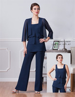 Dark Navy Blue Chiffon Mother of The Bride Dresses With Jack...