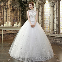 Romantic Beaded Crystal Tulle Ball Gown Wedding Dress With L...