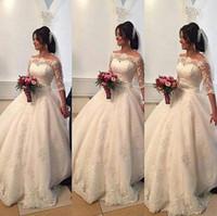 2016 года из бисера Кружева арабский Свадебные платья Бато половина рукава бальное свадебное платье принцессы Свадебные платья вечерние платья для свадьбы