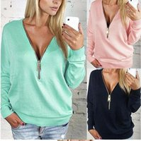 New 2016 Spring Women Blouses Long Sleeve Zipper Deep V Neck...