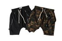 Wholesale- 2016 Camouflage Ribbon Drop Out Men Shorts Hip Hop...