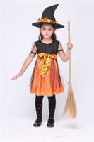 Дети Ведьма Косплей костюмы Хэллоуин ведьмы Тыква костюмы Дети хлопок Bowknot Ведьма платье + Ведьмы Hat Kids Комплект обмундирования этап износа
