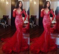 2017 Sexy Deep V Neck Long Sleeve Mermaid Red Evening Dresse...