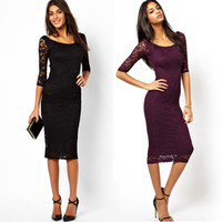 Мода Женщины кружева платье 2016 Sexy Фиолетовый Черный цветочные кружева платье рукава 3/4 вечерние платья выпускного вечера партии