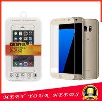 Для Galaxy S7 Закаленное стекло Samsung S7 Полное покрытие Защитная пленка Красочные RIM Закаленное стекло экрана протектор BOX DHL оптом
