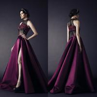 Rami Kadi Front Split Evening Dresses High Collar Embroidery...
