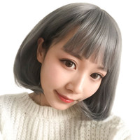 New Fashion 45cm Bobo Gray Short Hair Girl Wig Cosplay Air B...