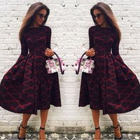 Women Autumn Winter Dress Vintage Print Dress Long Sleeve Fe...