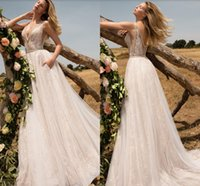 New Arrival A Line wedding Dress Spaghetti Strap With sash T...
