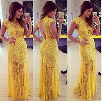 Jewel Neck Lace Appliqued Mermaid Evening Dress Yellow 2016 ...