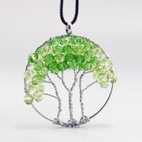 New Fashion Wisdom green crystal Tree Pendants Round Natural...