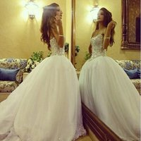 2016 Wedding dress Shinny Sequins Sweetheart Wedding Dresses...