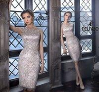 Elegant Blush Mother' s Dresses Knee Length Sheer Neck M...