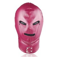 Rose Red Leather Slave Head Bondage Restraint Mask Open Mout...