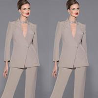 Elegant Mother Of Bride Pan Suit Long Sleeves Appliques Sati...