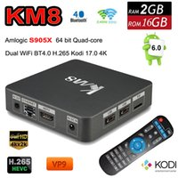 Amlogic S905X Android 6.0 TV Box 2GB 16GB KM8 Quad-Core 2.4G5G dupla WiFi Marshmallow KODI 17,0 BT4.0 H.265 4K OTA Media Player VS X96 A95X