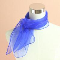Small Square Scarves Pure Silk Chiffon Solid Color Dance Sho...