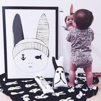 90 * 120 см детское одеяло новорожденного ребенка мультфильм Кролик одеяло Черный Белый крест Трикотажное Плед для кровати Диван Покрывало фланелевой MC0274