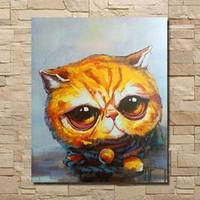Аннотация Cat Art, Pure Ручная роспись Картина Современный домашний декор стены искусства качества нефти Canvas.customized размер приняли Бесплатная доставка aliMYT