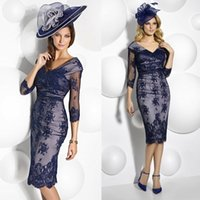 Navy Blue Cabotine Mother Of The Bride Lace V- Neck Sheer 3 4...