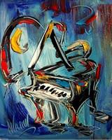Синий Фортепиано, Pure Ручная роспись Современная Абстрактная живопись маслом на Canvas.any заказной размер принимаются RIGH