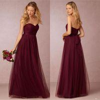 Annabelle Dark Cherry Tulle Long Bridesmaids Dresses Pleated...