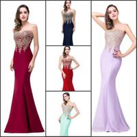 Real Image Mermaid Evening Dresses In Stock 2016 Sheer Jewel...