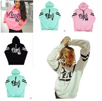 Pink Letter Print Cotton Women Casual Hoodies Pullover Sprin...