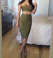 2016 new women black olive off shoulder two pieces bandage d...