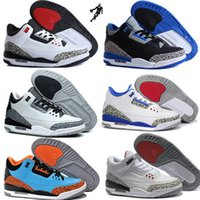 Free shipping Air retro 3 white cement infrared basketball s...