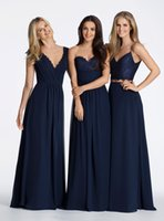 2016 темно-синий Boho линии шифон Длинные платья невесты Hayley Paige Convertible Bridesmaids платье Два кусочка платья выпускного вечера