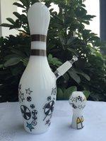 conception de bowling blanc Croquis Conduite d'eau avec 14mm Joint huile de clou domeless Rigs verre bong pipe