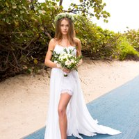 A Line Wedding Dresses Side Split Backless Super Sexy Bech w...